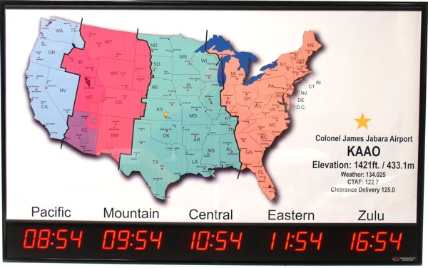 TZMAP5 Airport Time Zone Clock with US Map