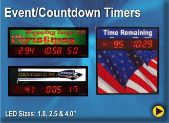 BRG Event Countdown, Count up timers are perfect to mark the start of an event or countdown to the completion of an event