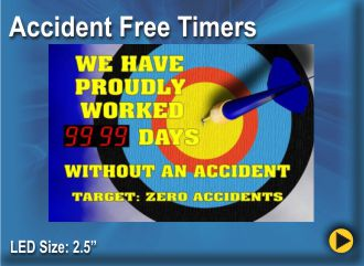 BRG Accident Free Timer with Moving Message Display, Moving Message Sign