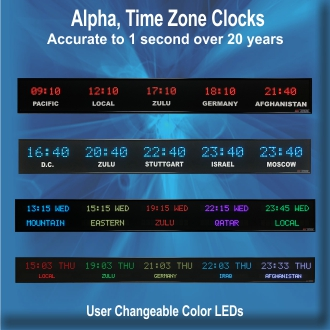 BRG's Alpha Digital LED Time Zone Clocks, World Clock, Zulu Clock
