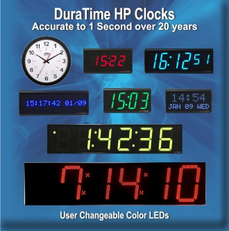 BRG's DuraTime HP High Precision Factory Synchronized Clocks featuring OCXO Oscillators for accuracy to 20 years