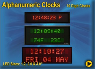 BRG Alphanumeric Clocks use Dot Matrix Digital LEDs to display the time, Date, and event Temperature