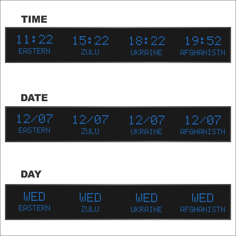 The BRG Model 5610LR four zone time zone clock with 2 inch 5 character LEDs displaying time and 1.2 inch 10 character LEDs displaying the zone name