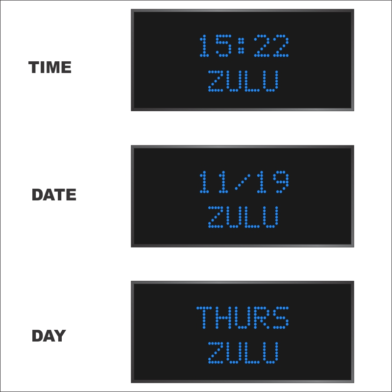 BRG Model 5610QR is shown here with 1 zone and 2.0 inch dot matrix LEDs. Digital Time Zone Display, UTC Clock, Multi Location Clock, Zulu Clock, Multi-location Clock, World Clock, Time Zone Clock
