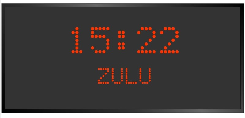 BRG Model 5710FR is shown here with 1 zone and 2.0 AND 1.2 inch dot matrix LEDs. Digital Time Zone Display, UTC Clock, Multi Location Clock, Zulu Clock, Multi-location Clock, World Clock, Time Zone Clock
