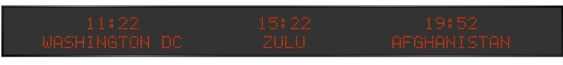 BRG Model 5710MR is shown here with 3 zones and 2.0 inch dot matrix LEDs. Digital Time Zone Display, UTC Clock, Multi Location Clock, Zulu Clock, Multi-location Clock, World Clock, Time Zone Clock