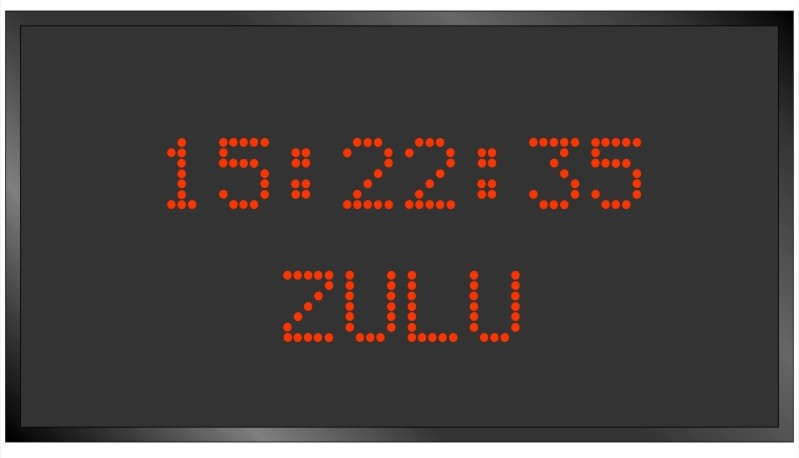 BRG Model 5810AR is shown here with 1 zone and 1.2 inch dot matrix LEDs. Digital Time Zone Display, UTC Clock, Multi Location Clock, Zulu Clock, Multi-location Clock, World Clock, Time Zone Clock