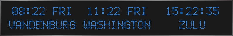 BRG Model 5810KR is shown here with 3 zones and 2.0 inch dot matrix LEDs. Digital Time Zone Display, UTC Clock, Multi Location Clock, Zulu Clock, Multi-location Clock, World Clock, Time Zone Clock