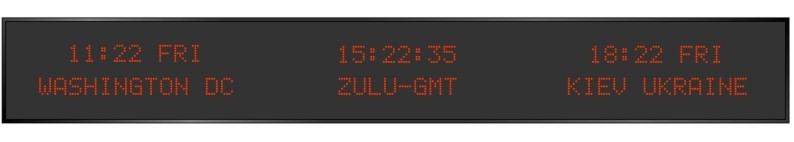BRG Model 5910CR is shown here with 3 zones and 1.2 inch dot matrix LEDs. Digital Time Zone Display, UTC Clock, Multi Location Clock, Zulu Clock, Multi-location Clock, World Clock, Time Zone Clock