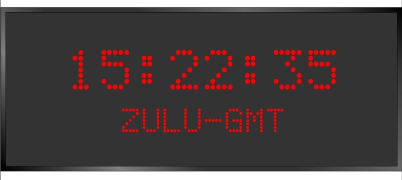BRG Model 5910FR is shown here with 1 zone and 2.0 & 1.2 inch dot matrix LEDs. Digital Time Zone Display, UTC Clock, Multi Location Clock, Zulu Clock, Multi-location Clock, World Clock, Time Zone Clock