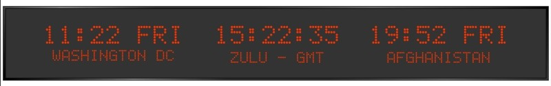 BRG Model 5910HR is shown here with 3 zones and 2.0 & 1.2 inch dot matrix LEDs. Digital Time Zone Display, UTC Clock, Multi Location Clock, Zulu Clock, Multi-location Clock, World Clock, Time Zone Clock