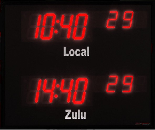 BRG Model 300J Digital LED Time Zone Display, features 2 zones and 2.5 inch LEDs