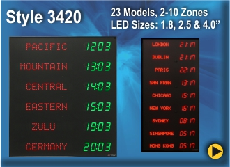 BRG Programmable Time Zone Clock, World Clock, Zulu Clock, Style 3420