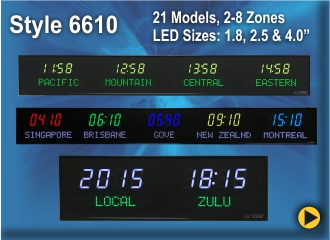 BRG Programmable Time Zone Clock, World Clock, Zulu Clock, Style 6610