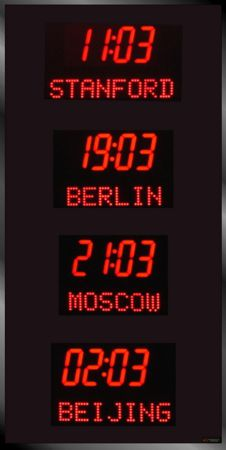 The BRG Model 3010A Vertical Time Zone Clock features 3 time zones that have 1.8 inch LEDs and 1.2 inch dot matrix LEDs for the Zone Labels.  Time Zone Display, Time Zone Displays, Time Zone Clocks, World Clock, UTC Clock, Multi Location Clock, Zulu Clock, Multi-location Clock, Digital Clock, Digital Time Display, BRG Precision Products.