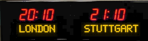 The BRG 6610R is a 2 zone Time Zone Clock, however like all 6610's, you can display up to 24 zones by having the zones rotate.  The 6610R features 1.8 inch bar segment LEDs for the time and 1.2 inch dot matrix LEDs for the zone label. Time Zone Clocks, Time Zone Display, Time Zone Displays, World Clock, Digital Time Zone Clock, Time Zone, UTC Clock, Multi Location Clock, Zulu Clock, Multi-location Clock, Digital Clock.