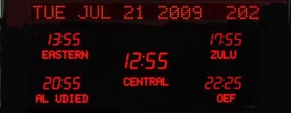 The BRG Model 6614G is a 5 zone time zone display that features a larger 2.5 inch LED in the center zone and 1.8 inch LEDs in the surrounding time zones. The zone labels and 20 character date at the top of the clock are 1.2 inch dot matrix LEDs.  Time Zone Clock, Time Zone Displays, World Clock, Digital Time Zone Clock, UTC Clock, Multi Location Clock, Zulu Clock, Multi-location Clock, Digital Clock.