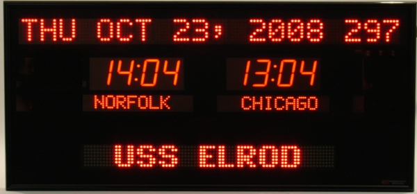 The BRG Model 6789T is a 2 zone Time Zone Clock with a 20 character date in 2.0 inch dot matrix LEDs, time is indicated with 2.5 inch bar segment LEDs, the zone label is highlighted with 2.0 inch dot matrix LEDs and the the moving message display is a 24 inch single line message board.  Time Zone Clocks, Time Zone Display, UTC Clock, Multi Location Clock, Zulu Clock, Multi-location Clock, Time Zone Displays, World Clock, Digital Time Zone